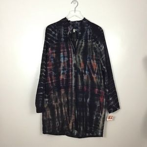 Burning Torch Flannel Mixed Plaid Shirt Dress